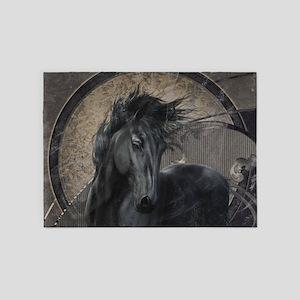 Gothic Friesian Horse 5'x7'Area Rug