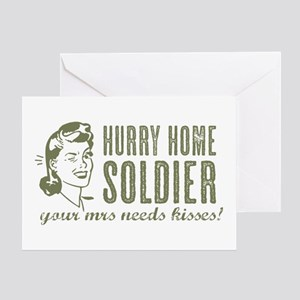 Hurry Home Soldier Greeting Cards