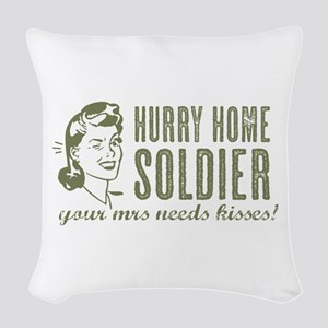 Hurry Home Soldier Woven Throw Pillow