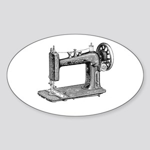 Vintage Sewing Machine Oval Sticker