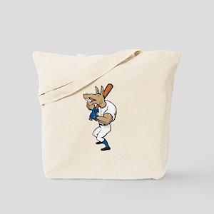 Donkey Baseball Player Batting Cartoon Tote Bag