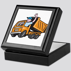 Dump Truck Driver Waving Cartoon Keepsake Box