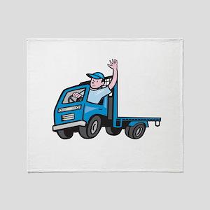 Flatbed Truck Driver Waving Cartoon Throw Blanket