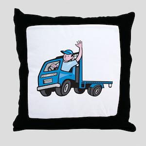 Flatbed Truck Driver Waving Cartoon Throw Pillow