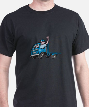Flatbed Truck Driver Waving Cartoon T-Shirt