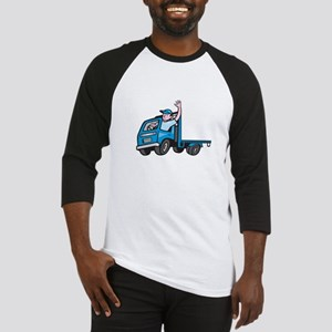 Flatbed Truck Driver Waving Cartoon Baseball Jerse