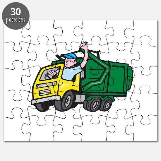 Garbage Truck Driver Waving Cartoon Puzzle
