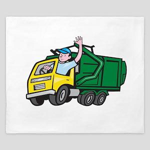 Garbage Truck Driver Waving Cartoon King Duvet