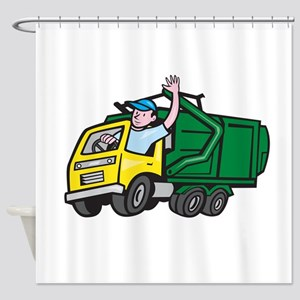 Garbage Truck Driver Waving Cartoon Shower Curtain