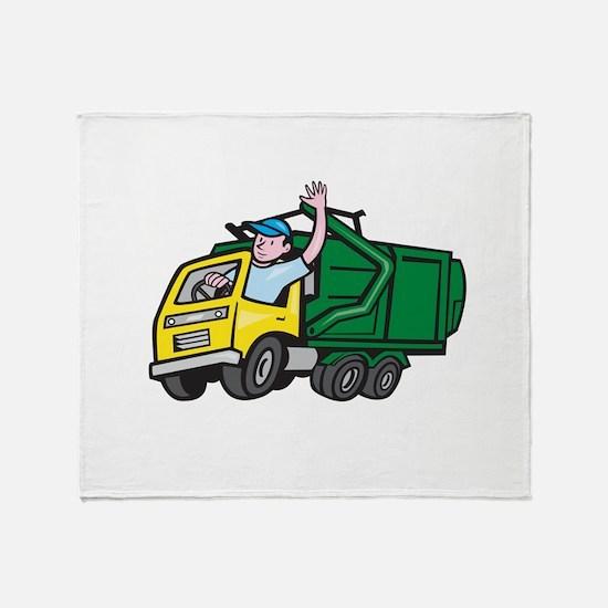 Garbage Truck Driver Waving Cartoon Throw Blanket