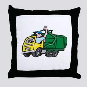 Garbage Truck Driver Waving Cartoon Throw Pillow