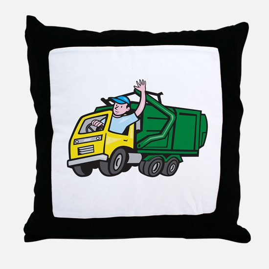 Garbage Truck Driver Waving Cartoon Throw Pillow