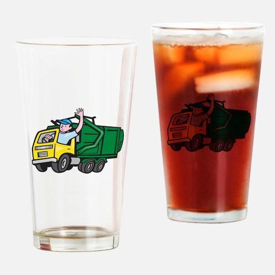 Garbage Truck Driver Waving Cartoon Drinking Glass