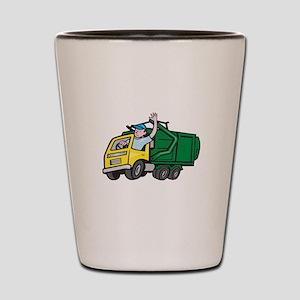Garbage Truck Driver Waving Cartoon Shot Glass