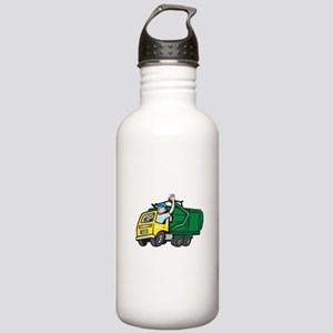 Garbage Truck Driver Waving Cartoon Water Bottle