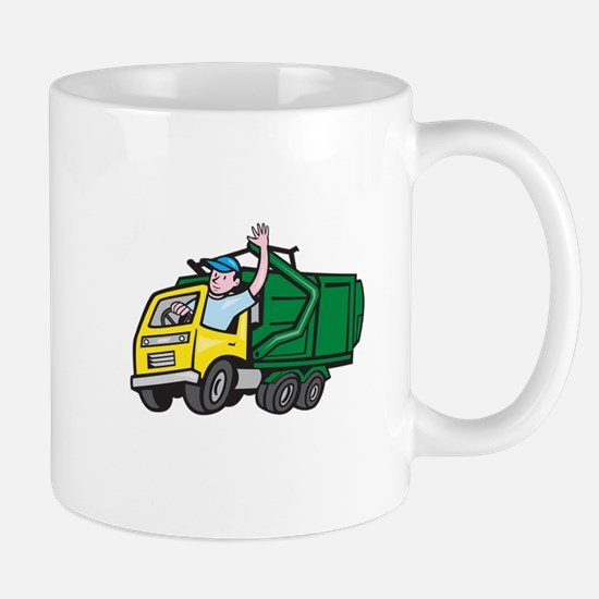 Garbage Truck Driver Waving Cartoon Mugs