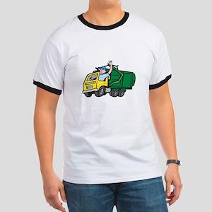 Garbage Truck Driver Waving Cartoon T-Shirt