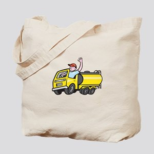 Tanker Truck Driver Waving Cartoon Tote Bag