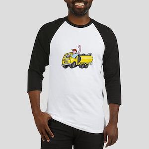 Tanker Truck Driver Waving Cartoon Baseball Jersey