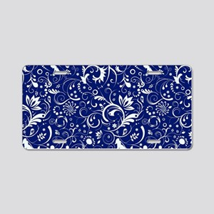 Elegant Floral Damasks In W Aluminum License Plate