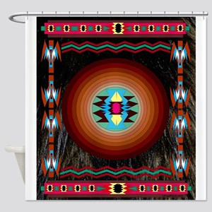 Native American Motif Bear Shower Curtain