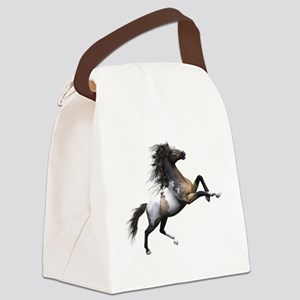 Mustang Horse In The Snow Canvas Lunch Bag