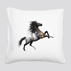 Mustang Horse In The Snow Square Canvas Pillow