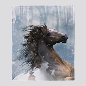 Mustang Horse In The Snow Throw Blanket