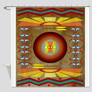 Native American Motif Honey Bear Shower Curtain
