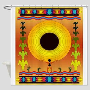 Native American Motif Sun Worship Shower Curtain