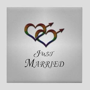 Just Married Gay Pride Tile Coaster