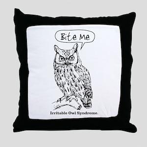 IRRITABLE OWL Throw Pillow