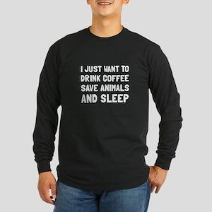 Coffee Animals Sleep Long Sleeve T-Shirt