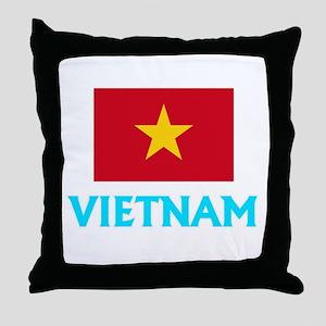 Vietnam Flag Classic Blue Design Throw Pillow