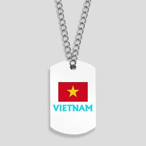 Vietnam Flag Classic Blue Design Dog Tags