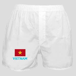 Vietnam Flag Classic Blue Design Boxer Shorts