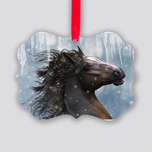 Mustang Horse In The Snow Ornament