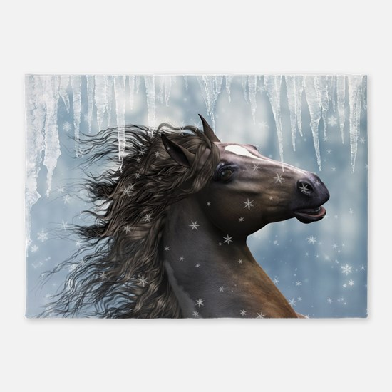 Mustang Horse In The Snow 5'x7'Area Rug