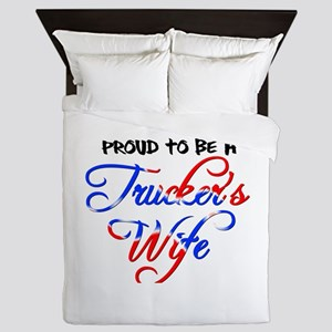 Proud Truckers Wife Queen Duvet