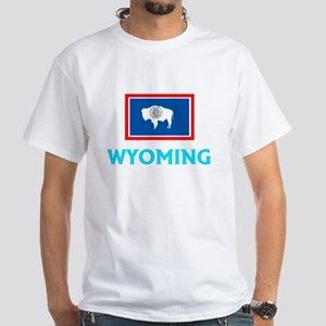 Wyoming Flag Classic Blue Design T-Shirt