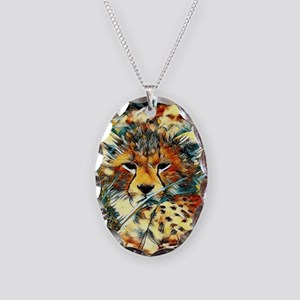 AnimalArt_Cheetah_20171001_by_ Necklace Oval Charm