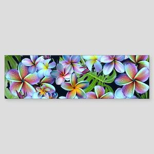 Rainbow Plumeria Dark Bumper Sticker