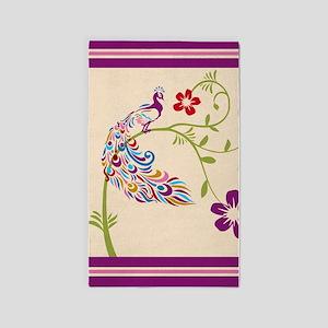 Purple Stripe Peacock 3'x5' Area Rug