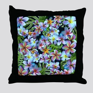 Rainbow Plumeria Dark Throw Pillow
