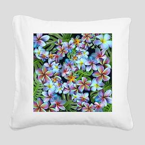 Rainbow Plumeria Dark Square Canvas Pillow