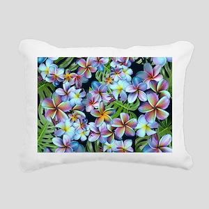 Rainbow Plumeria Dark Rectangular Canvas Pillow