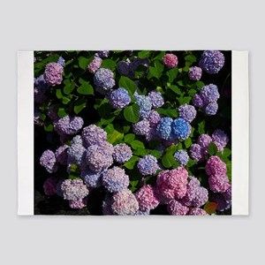 purple, blue, and pink hydrangeas 5'x7'Area Rug