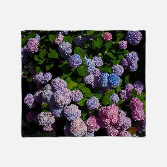 purple, blue, and pink hydrangeas Throw Blanket