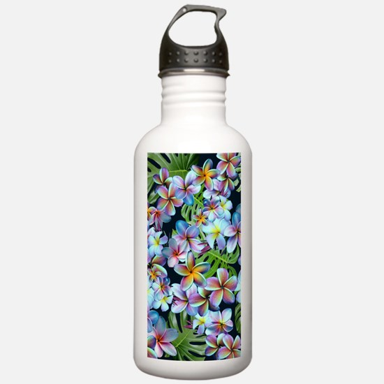 Rainbow Plumeria Dark Water Bottle