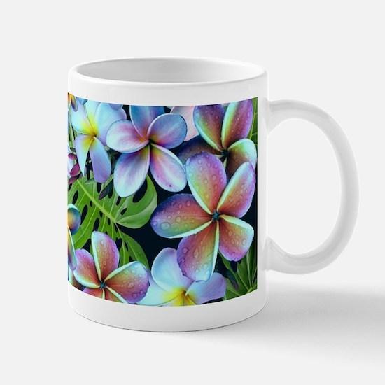 Rainbow Plumeria Dark Mugs